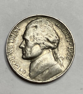 FREE SHIP  1952 S JEFFERSON NICKEL   SAN FRANCISCO MINT   BETTER CIRCULATED COIN