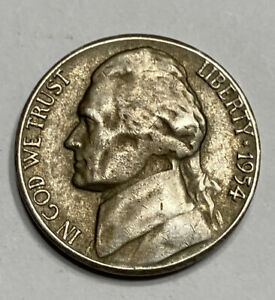 FREE SHIP  1954 S JEFFERSON NICKEL   SAN FRANCISCO MINT   BETTER CIRCULATED COIN