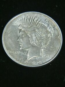 1922 D PEACE SILVER DOLLAR XF BRIGHT WITH SOME LUSTER IN SAFLIP  DP04