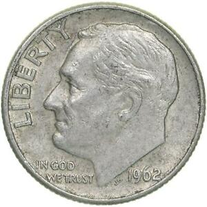 1962 D ROOSEVELT DIME 90  SILVER EXTRA FINE XF