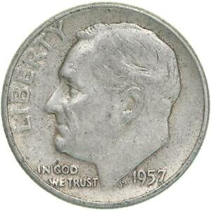 1957 ROOSEVELT DIME 90  SILVER EXTRA FINE XF