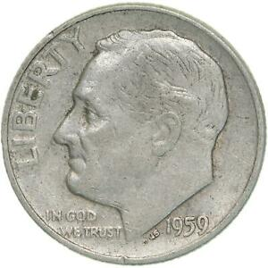 1959 D ROOSEVELT DIME 90  SILVER EXTRA FINE XF