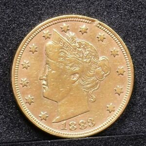 1883 LIBERTY NICKEL NO CENTS   GOLD PLATED