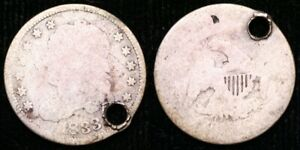 1833  CAPPED BUST HALF DIME   HOLED