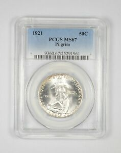 MS67 1921 PILGRIM TERCENTENARY COMMEMORATIVE HALF DOLLAR   GRADED PCGS  8690