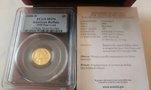 2008 W $5 GOLD BUFFALO .9999 FINE PCGS MS70 WITH OGP