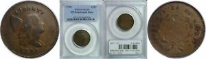 1795 HALF CENT PCGS VG 10 PLAIN EDGE. PUNCTUATED DATE