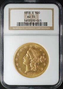 1858 S TYPE 1 LIBERTY HEAD GOLD DOUBLE EAGLE NGC AU55