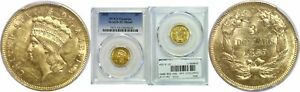 1855 $3 GOLD COIN PCGS GENUINE