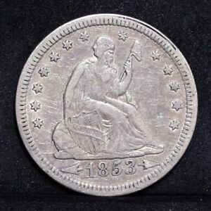1853 LIBERTY SEATED QUARTER   WITH ARROWS & RAYS   CH VF DETAILS  31987