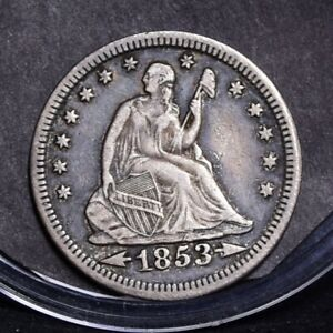 1853 LIBERTY SEATED QUARTER   WITH ARROWS & RAYS   CH XF DETAILS  31988