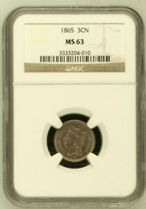 1865 THREE CENT NICKEL NGC MS63  3664495 001