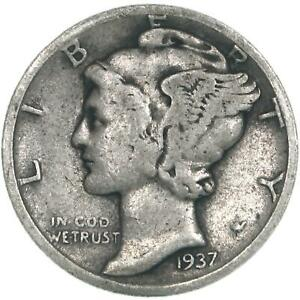 1937 D MERCURY DIME 90  SILVER GOOD GD