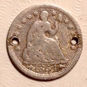 1854 WITH ARROWS  SEATED LIBERTY HALF DIME   SILVER 5 CENTS HOLED