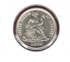 1890 SILVER SEATED LIBERTY DIME GRADES ALMOST UNCIRCULATED   C3465