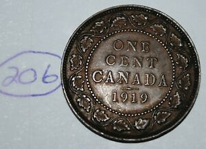 CANADA 1919 1 LARGE CENT CANADIAN ONE GEORGE V PENNY COIN LOT 206