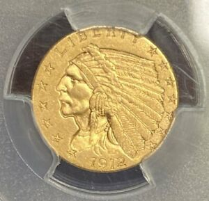 1912 GOLD $2.50 INDIAN PCGS MS62