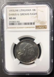 Click now to see the BUY IT NOW Price! 1993 LITHUANIA 10 LITU  TOP POP   FLIGHT DARIUS & GIRENAS  NGC MS67