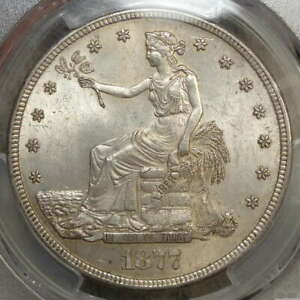 1877 S TRADE DOLLAR UNCIRCULATED PCGS MS 62 ORIGINAL EARLY SILVER TYPE COIN