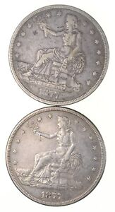 LOT  2  1877 & 1877 S SEATED LIBERTY SILVER TRADE DOLLARS  2754