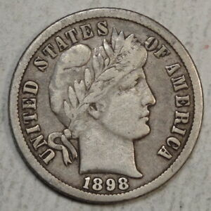 1898 O BARBER DIME FINE BETTER DATE AND GRADE   0620 04