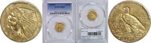 1914 D $2.50 GOLD COIN PCGS MS 61