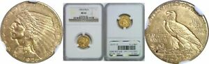 1925 D $2.50 GOLD COIN NGC MS 62