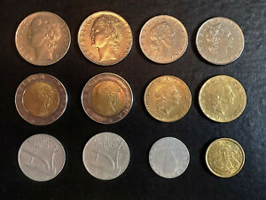 WORLD COINS   ITALY   LOT OF 12 COINS MULTIPLE YEARS AND CONDITIONS.