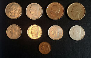 WORLD COINS   BELGIUM   LOT OF 9 COINS MULTIPLE YEARS AND CONDITIONS
