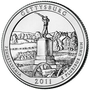 2011 GETTYSBURG MILITARY PARK P&D 2 COIN SET   UNCIRCULATED