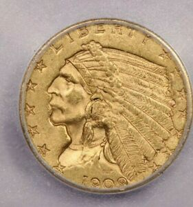 1909 P 1909 INDIAN HEAD GOLD COIN $2 1/2 ICG MS62