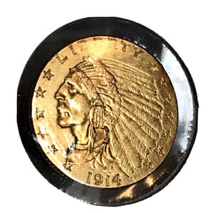 1914 D   $2.5 INDIAN QUARTER EAGLE GOLD UNCERTIFIED AND UNCLEANED