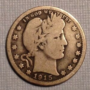 1915 US BARBER QUARTER 25 CENTS