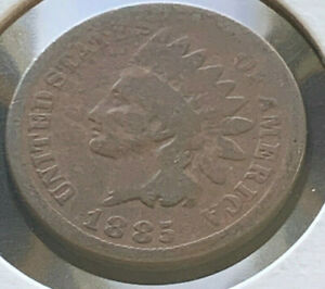 1885 INDIAN HEAD CENT PENNY REDDISH BROWN SLIGHTLY ROTATED REVERSE