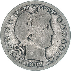 1907 S BARBER QUARTER 90  SILVER ABOUT GOOD AG