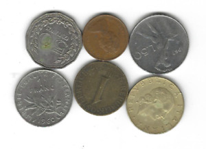 LOT OF 6 CIRCULATED MIXED WORLD COINS   ITALY AUSTRIA COLOMBIA ETC.  A