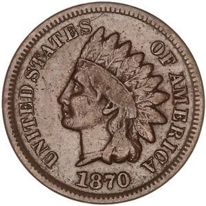 1870 INDIAN HEAD CENT FINE PENNY FN