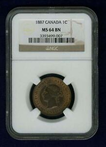 CANADA VICTORIA  1887  LARGE CENT CHOICE UNCIRCULATED  CERTIFIED NGC MS64 BN
