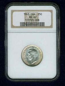CANADA  GEORGE VI  1943  25 CENTS SILVER COIN UNCIRCULATED NGC CERTIFIED MS62