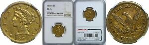 1850 D $5 GOLD COIN NGC XF 45