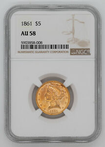 1861 LIBERTY HEAD GOLD HALF EAGLE $5 NGC CERTIFIED AU 58 ABOUT UNCIRCULATED  008