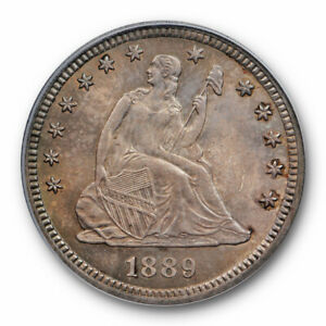 1889 25C SEATED LIBERTY QUARTER PCGS MS 65 UNCIRCULATED KEY DATE ORIGINAL TONED