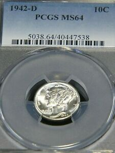 1942 D MERCURY SILVER DIME PCGS MS64 BLAST WHITE WITH SUPERB LUSTER PQ T51