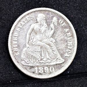 1890 S LIBERTY SEATED DIME   AU DETAILS  33048