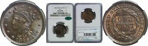 Click now to see the BUY IT NOW Price! 1846 LARGE CENT NGC MS 66 BN CAC N 6