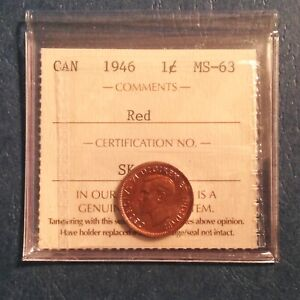 1946 CANADA GEORGE VI ONE CENT ICCS GRADED  RED UNCIRCULATED