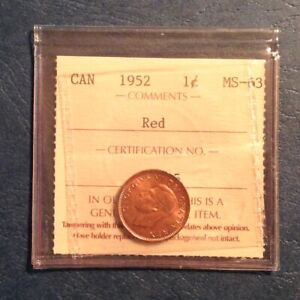 1952 CANADA GEORGE VI ONE CENT ICCS GRADED  RED UNCIRCULATED