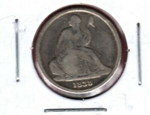 1838 O NO STARS SEATED LIBERTY SILVER DIME GRADES GOOD C4412