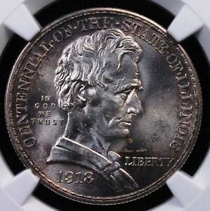 1918 ILLINOIS COMMEMORATIVE HALF NGC MS 64 SILVERY OBVERSE WITH PALE GRAPE RIMS