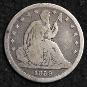 1838 SMALL STARS SEATED LIBERTY DIME CHOICE VG  E233 GNM